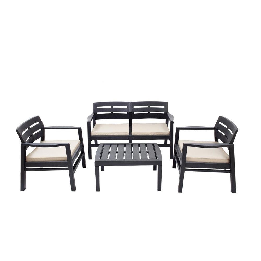 Conjunto salon para interior y exterior: 2 butacas, 1 sofa de 2 plazas con cojines y mesita