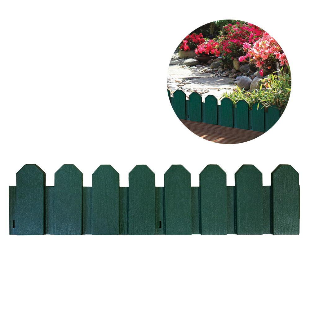 Bordura De Polietileno Color Verde 20X80Cm (Pack 4 Unid.) Incluye Piqueta De Fijacion