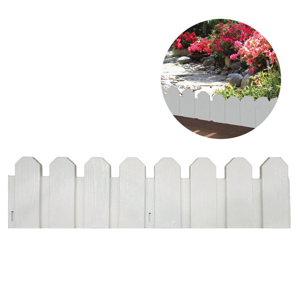 Bordura De Polietileno Color Blanco 20X80Cm (Pack 4 Unid.) Inclye Piqueta De Fijacion
