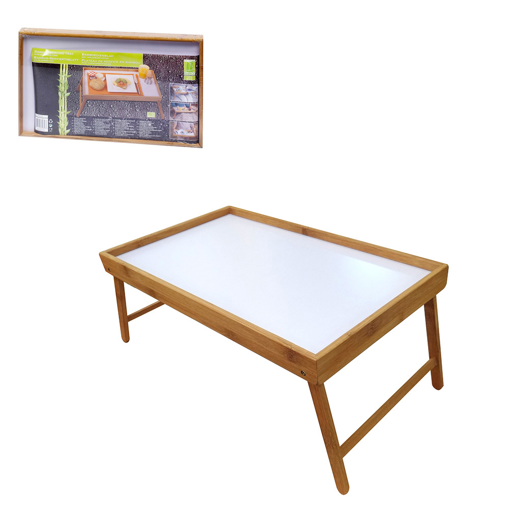 Bandeja De Desayuno Para Cama Plegable Bamboo 50X30X22Cm