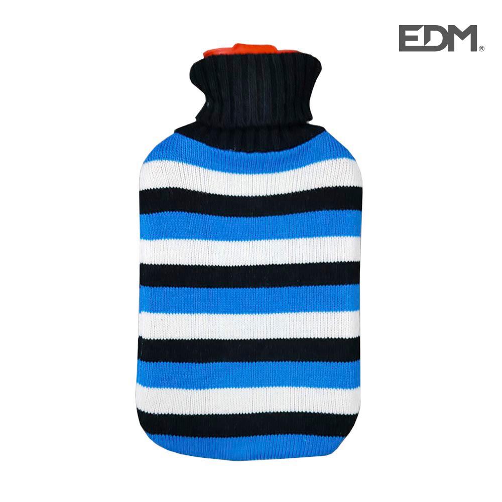"Bolsa de agua caliente - modelo - ""rayas azules"" - lana - 2l - edm"