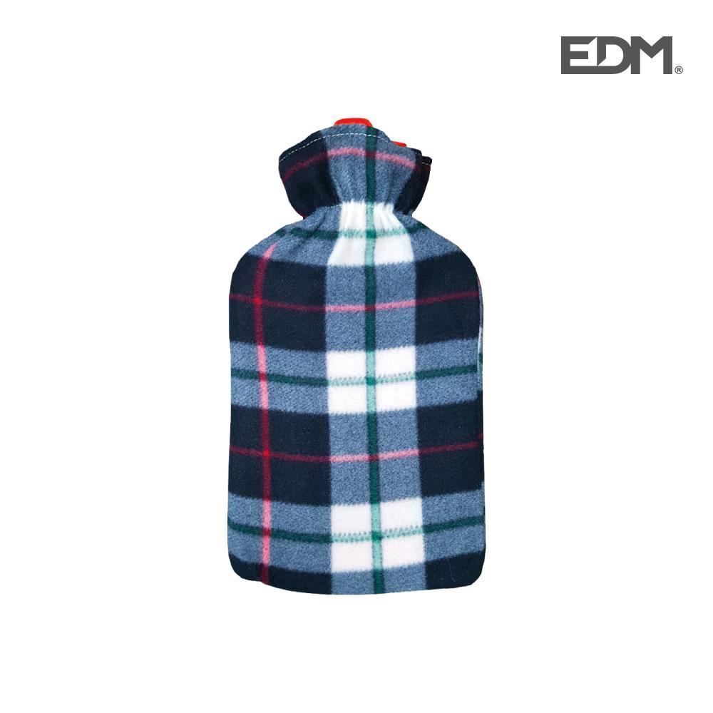 "Bolsa de agua caliente - modelo ""cuadros grises"" - forro polar - 2l - edm"
