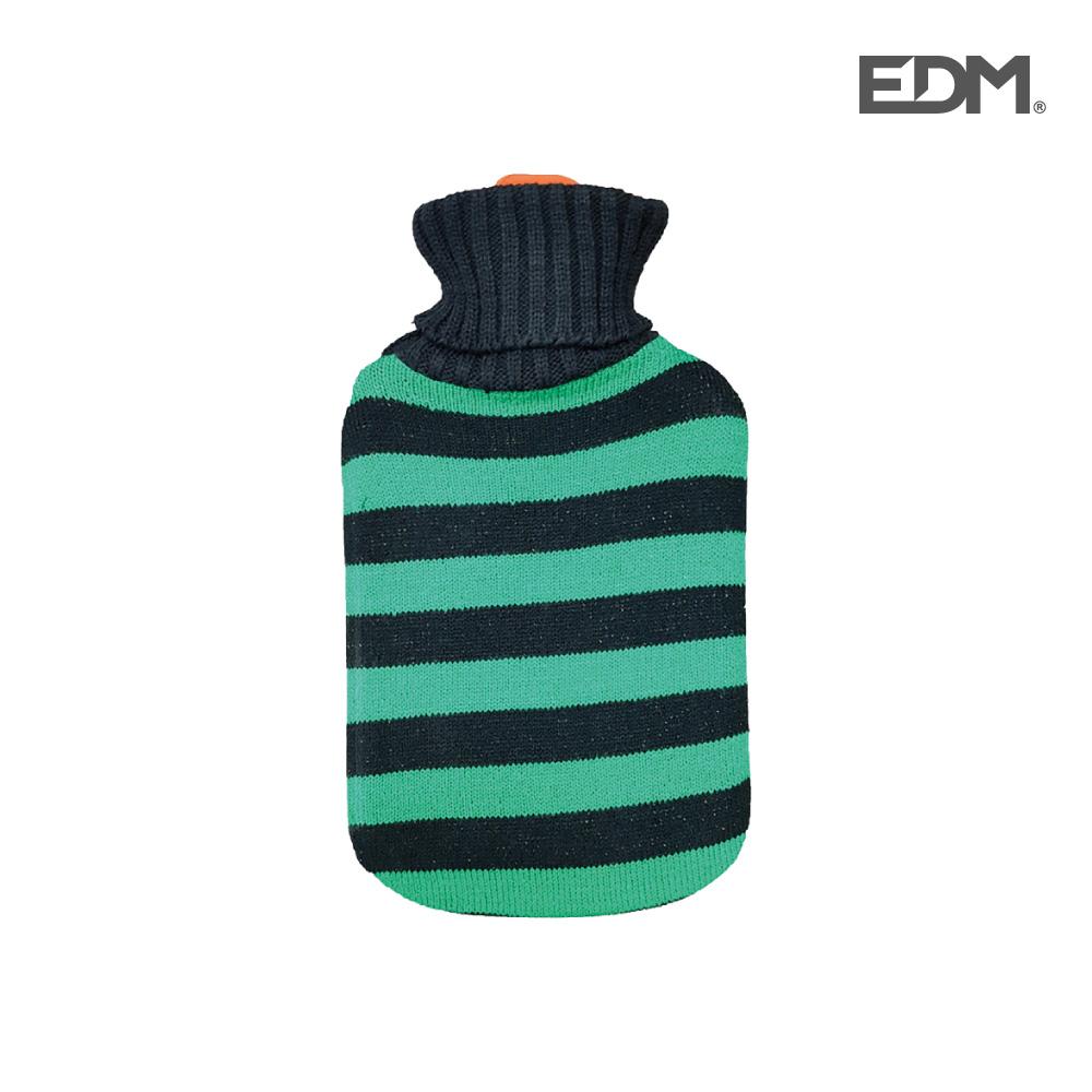 "Bolsa de agua caliente - modelo ""rayas verdes"" - lana - 2l - edm"