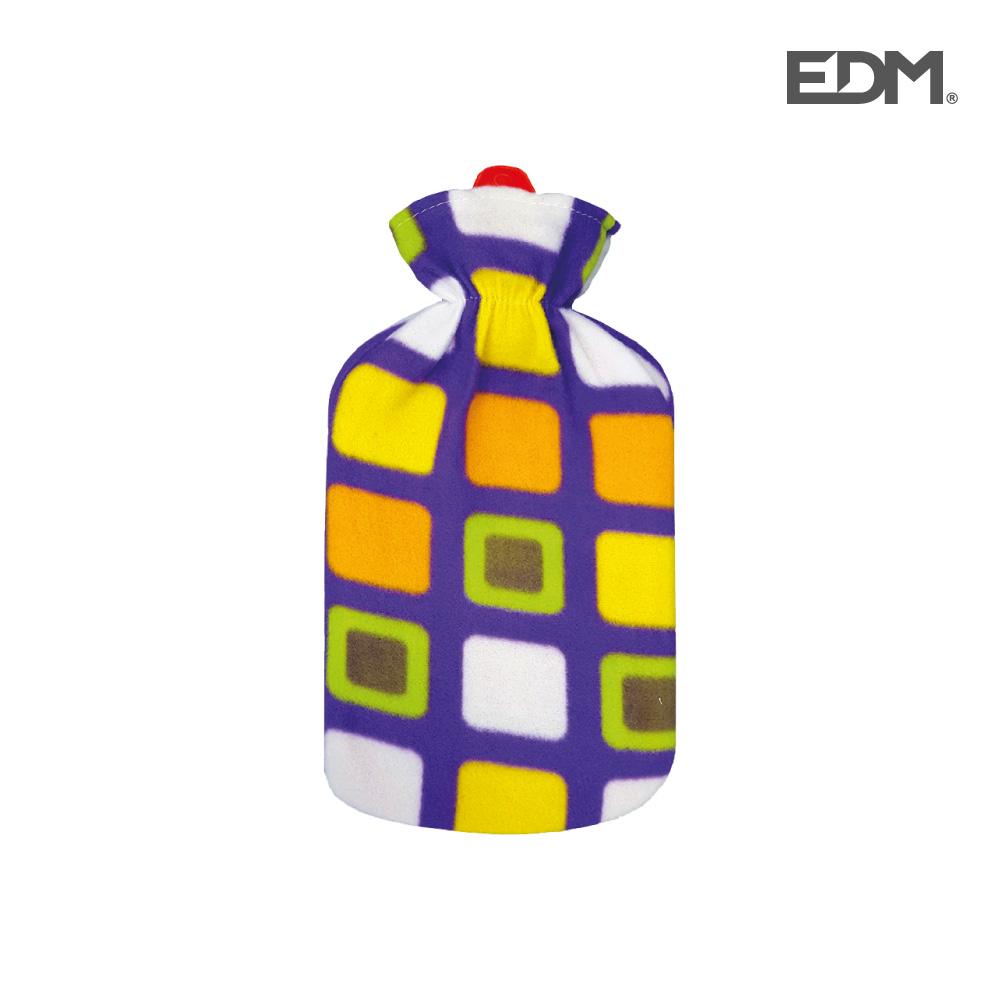 """Bolsa de agua caliente - modelo """"cuadros de colores"""" - forro polar - 2l -  edm"""