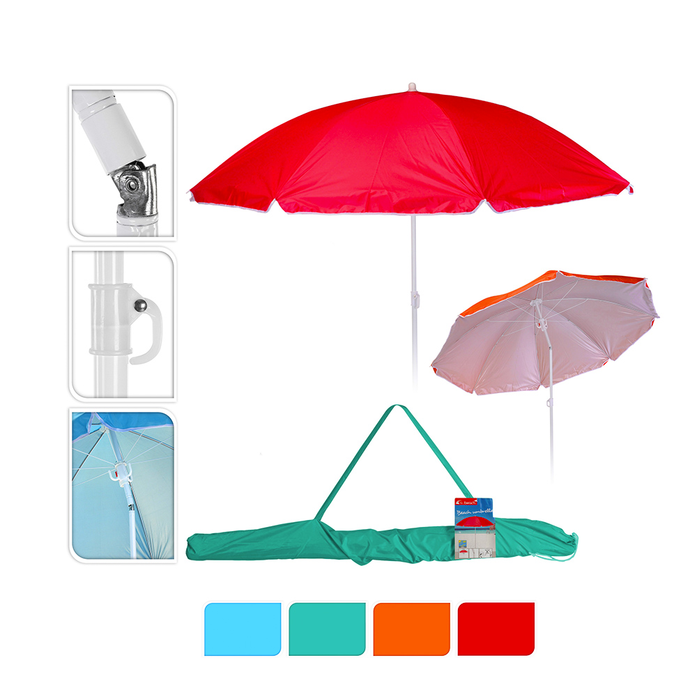 Sombrilla De Playa Ø160Cm Colores Surtidos Con Funda