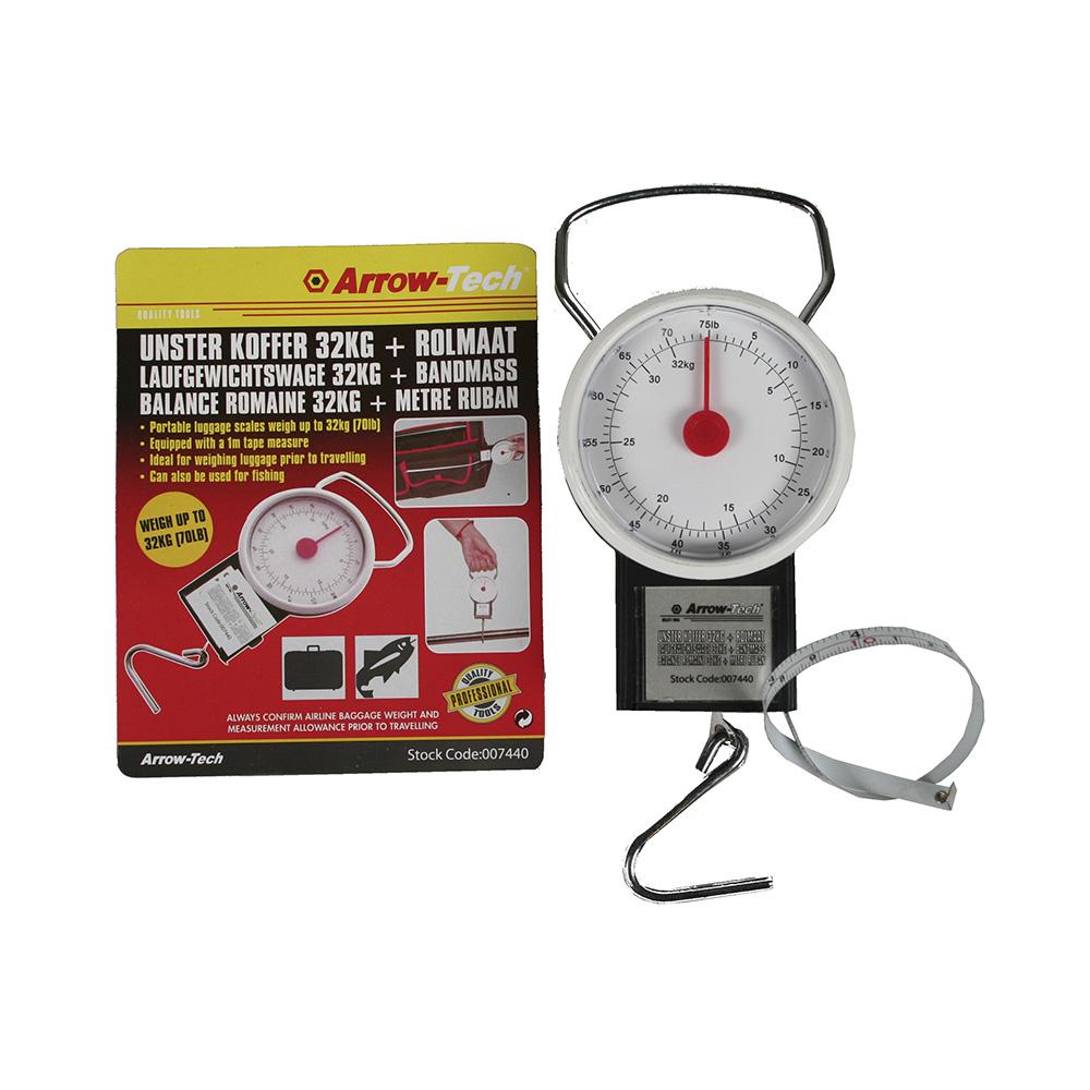 Bascula clasica analogica con gancho y cinta metrica peso max. 32 kg