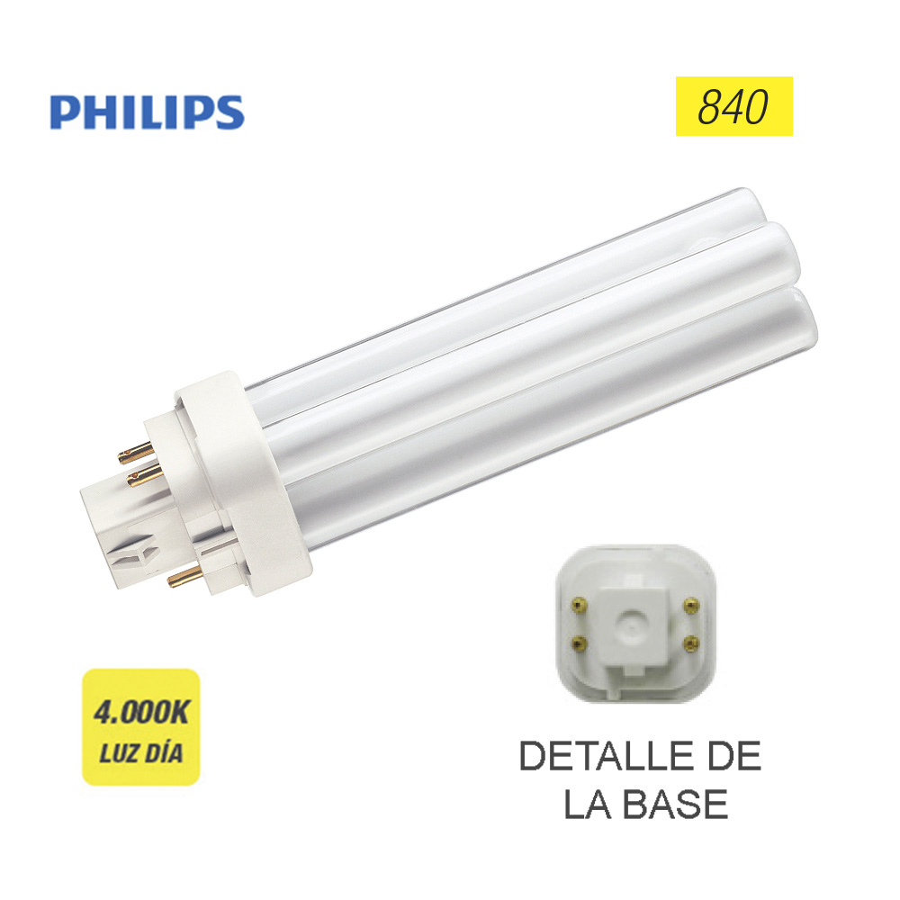 "Bombilla Lynx 4 Pins G24Q-1 13W 840K ""Philips"" (Equivalencia Philips: Pl-C 2P)"