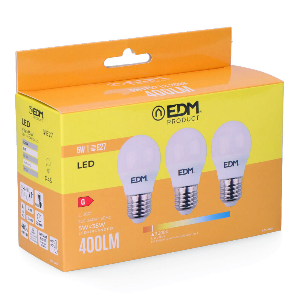6kit 3 bombillas led esfericas 5w e27 3.200k luz calida edm