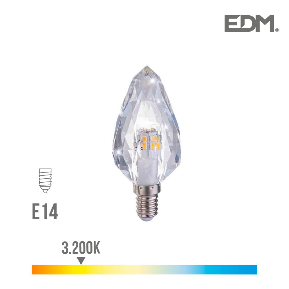 Bombilla Led Cristal E14 3W 300 Lumens 3.200K Luz Calida Edm